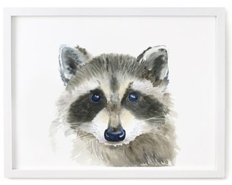 Raccoon Print of Watercolor Painting, Giclee Animal Print