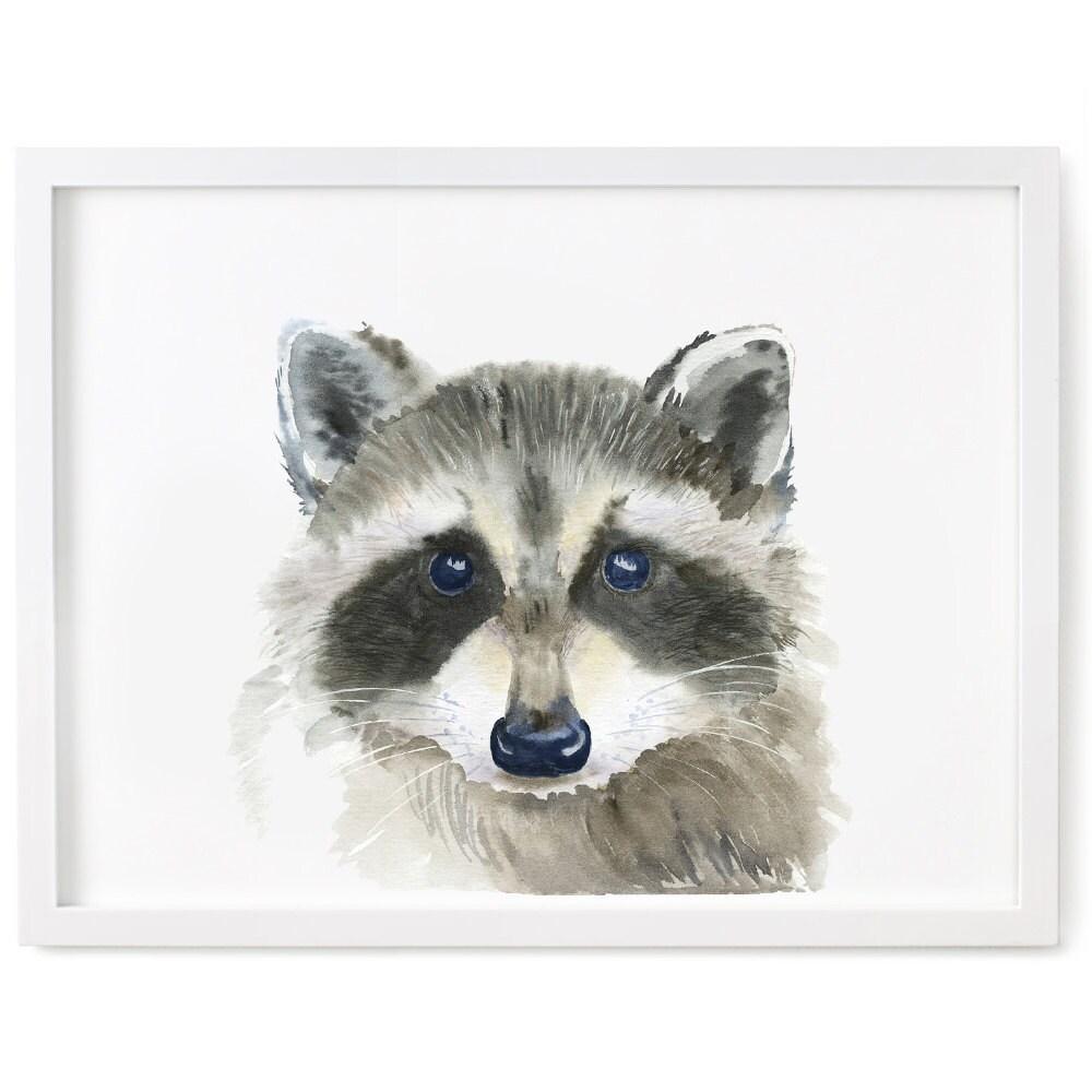 raccoon print of watercolor painting giclee animal print