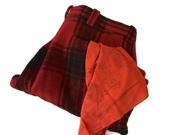 1950's Mens Wool Hunting Pants, Red Black Plaid,  novelty Hunting Cartoon Scarf