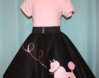 Girls L Ready to ship! 6pc Frenchie Poodle skirt outfit! Skirt,Tee,Hair scarf,Petticoat,Music Note bobby socks,cat eye glasses! RTS!