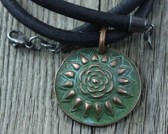 Large Mandala Tribal Necklace,  Mens Unisex Necklace, Sterling Silver Leather Necklace