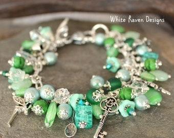 Beaded Charm Bracelet - LA FEE VERTE - Absinthe fairy fantasy theme jewelry Artists Poets bohemian gypsy  Handcrafted by White Raven Designs
