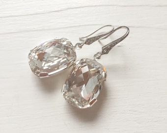 CLEARANCE Large Swarovski Crystal Bridal Earrings, Swarovski Crystal Drop Earrings
