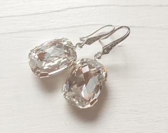 CLEARANCE Large Swarovski Crystal Bridal Earrings, Swarovski Crystal Drop Earrings
