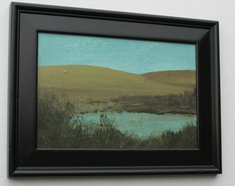"wall art - ""Lea Lake"" -  original acrylic painting - home decor - framed artwork"