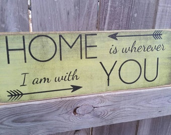 Home is where I am with you Typography Wood Sign, Subway Art Sign, WEDDINGS