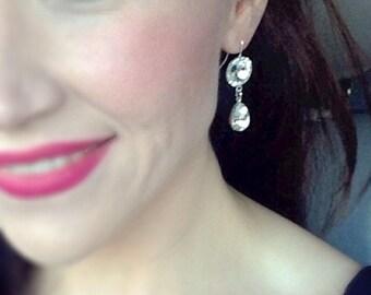 Swarovski Crystal Earrings, Crystal Rhinestone Drop Earrings, Bridesmaid Earrings, Round Stone, Crystal Teardrop, Vintage Style, Bridal