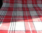Vintage tablecloth red black plaid Buffalo red black check linens farmhouse chic Valentines Day decor tablesetting woodland lumberjack