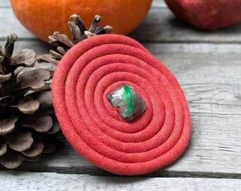 Flower BROOCH Pin Petal Flower Pin , Linen flower brooch, red pin brooch