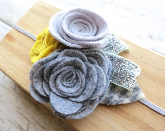 Felt Flower Baby Headband - Grey Yellow Heather Gray Rosette Bouquet - Plaid and Glitter Accents - Winter Spring Hairband