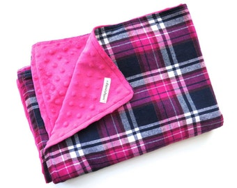 Girls Plaid Baby Blanket - Minky Blanket - Baby Girl - Plush Warm Winter Stroller Blanket - Double Sided Hot Pink Navy Plaid - Baby Gift