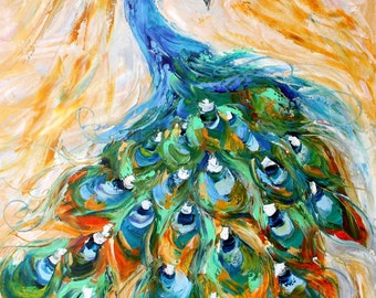 Peacock painting original oil  abstract palette knife impressionism on canvas fine art by Karen Tarlton