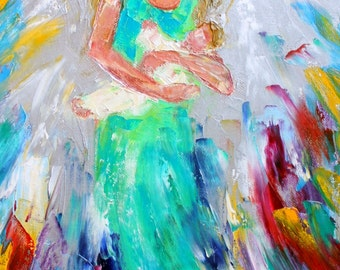 "Angel with Baby print 12"" x 24"" Quality image printed on canvas made from image of past original painting by Karen Tarlton fine art"