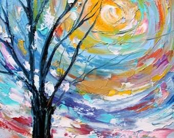Original oil painting 8x10 Winter Poetry palette knife modern texture fine art impressionism by Karen Tarlton