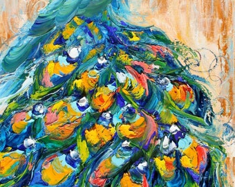 Original oil painting Fancy Peacock bird abstract palette knife impressionism on canvas fine art by Karen Tarlton