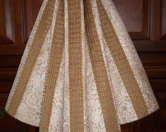 "AMAZING 58"" Metallic Gold and Cream Hand Beaded Ribbon Reversible Christmas Tree Skirt 2016 Collection"