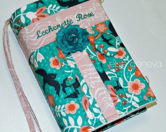 Bible Cover Made to Order Teal Blush Coral Floral Birds Musical Notes Made to Fit Personalized  Optional Handles Journal