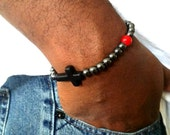Mens Beaded Bracelet, Red Beaded Hematite Gunmetal, Christian Cross Religious Gifts  Baptism Christening Gifts Ideas for Dad Son Friend