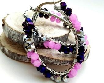 Purple Earrings - Beaded Hoop Earrings - Oval Hoop Earrings - Wire Wrapped Earrings - Christmas Gifts for Daughters - Boho Gifts under 30