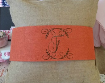 Monogrammed Burlap Pillow