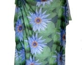 Large Square Scarf - Lotus Flower Design - Blue Water Lily
