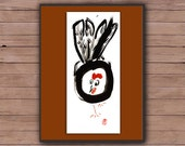 Rooster, Year of the Rooster, Chinese New Year 2017, Original Zen Sumi e ink Painting, red envelope, zen decor, child's room nursery art