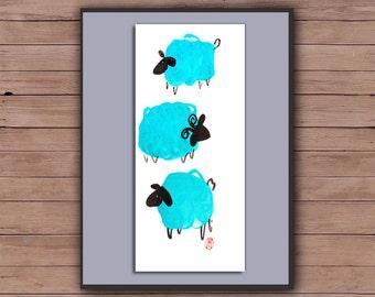 Chinese New Year of the Sheep, Ram, Goat, 2015 - 3 sheep bring fortune, Chinese zodiac, Sheng Xiao, zen painting,  zen decor, childrens room