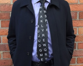 Screen Printed Tie - Men's Necktie - Wordsearch Tie - Gift Wrapped - Premium Quality Microber Tie - Choose color and quantity