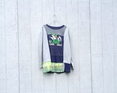 upcycled FIGHTING IRISH Notre Dame Footoball tunic dress clothing Patchwork flowing Dress Funky Tunic Dress Eco Dress Artsy Dress CreoleSha