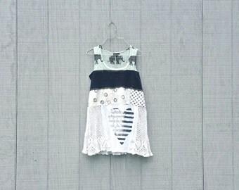 funky elephant knit and cotton elephant tunic upcycled romantic Upcycled clothing Dress Eco Dress / Artsy Dress by CreoleSha