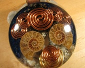 Orgone Pendant - Fossilized Ammonite, Azurite and Turquoise
