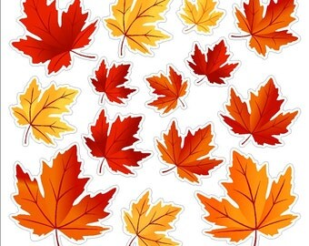 Autumn Leaves Autumn Window Decals Removable and Reusable Colorful Fall Leaf Clings