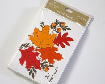 Vintage Invitations Cards vintage Hallmark Plans-a-Party Invitations retro Gold Leaves Fall Autumn Thanksgiving Invitations Paper Ephemera