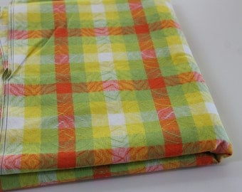 Vintage Fabric Vintage woven Decor Fabric woven textured plaid decor fabric Bright retro orange yellow lime green Plaid decor fabric 3.9 yd