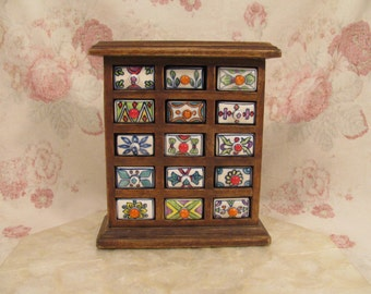 Fabulous French Style Handcrafted Wood Spice Cabinet w/ 12 Ceramic Drawers - Like New - Unused - Kitchen Decor - French Country Farmhouse