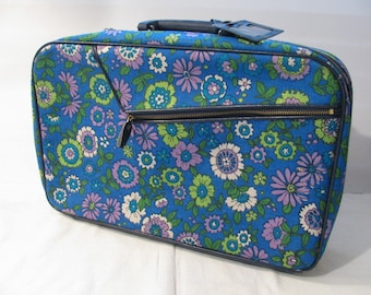 Child's Luggage - 1960s Blue Floral Vintage Suitcase - Travel Case - Carry On - Suitcase -Tote
