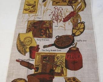 Beautiful Vintage Mid Century KayDee Linen Kitchen Hand / Dish Towel - New Old Stock - Never Used