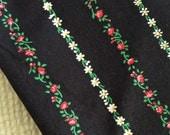 Cute Vintage Stripes on Black Floral Flowers Cotton Fabric Print