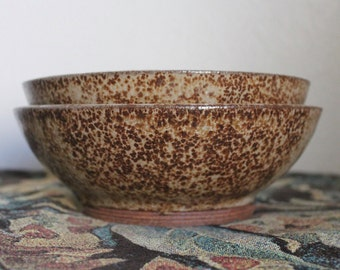 Two Speckled Studio Pottery Stoneware Serving Bowls - Signed Sturm 1978