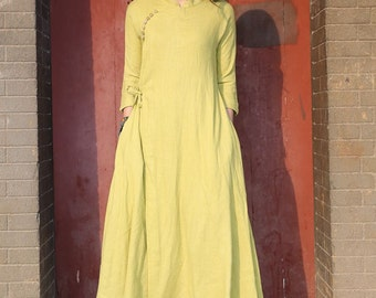 Spring dress Loose fitting Long Sleeve Sundress Maxi Dresss in yellow(more colour and size choice)