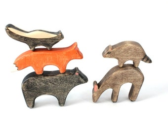 wooden waldorf toys, wood animal toys, forest animal waldorf toys, deer wooden toy, wood toys, waldorf animal toys