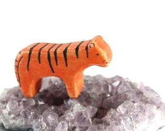 waldorf animal toys, wooden tiger toy, tiger cub, baby tiger toy, vegan