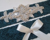TEAL Wedding Garter Set, Something Blue Lace Bridal Garter w/ Rhinestones, Bling, Peacock Blue Garter, Country- Rustic-Vintage Bride