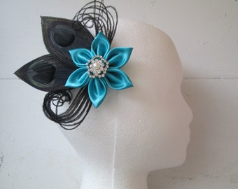 Turquoise & Black Wedding Hair Clip, Bridal Fascinator, Teal Blue Hair Flower, Birdcage, Alice in Wonderland, Something Blue, Kentucky Derby