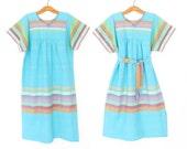 Vintage 70s Dress * 1970s Caftan Dress * Belted Tunic Dress * Medium