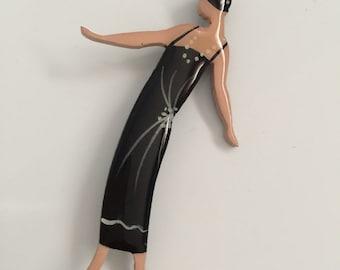 Flapper Girl Wooden Brooch