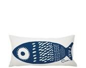 Single Tuna 10x20in Lumbar Pillow in NAVY