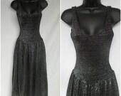1970s Tank Top Dress/Jumper, Knit, Disco, Silver Lurex Black, Extra Small XS