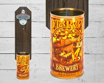 Peter Barbey  Wall Mounted Bottle Opener with Vintage Reading Pennsylvania Historic Brewery Beer Can Cap Catcher - Gift for Guy