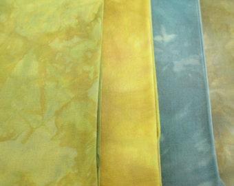 Hand-Dyed Quilt Fabric - Fat Quarter Bundle - Woodland Spring Landscape Colors - Modern Quilt Fabric - 4 FQ - QP011615